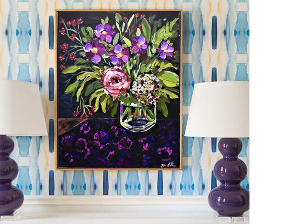 "framed colorful  flower abstract painting"" original painting by Jolina Anthony"