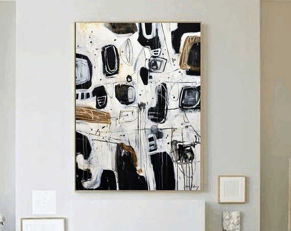 black white abstract  painting , nice large painting