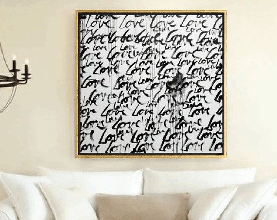 LOVE LOVE   abstract painting gift for wedding   original painting nice wall decor xx oil painting xx abstract art