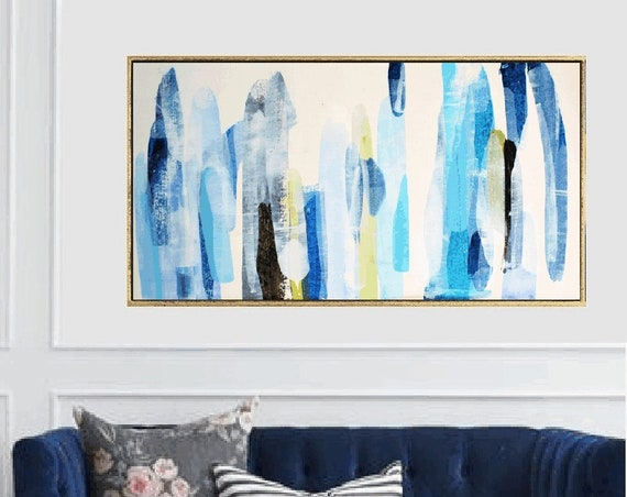 abstract painting blue white  original painting  by Jolina Anthony