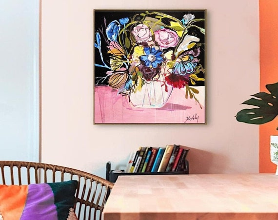 flowers in a Vase   abstract painting by jolina anthony wall decornice   oil painting