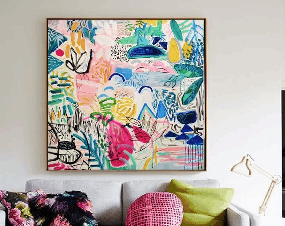 colorful garden abstract painting, nice  large painting colorful original painting interesting oil painting , jolina anthony abstract art