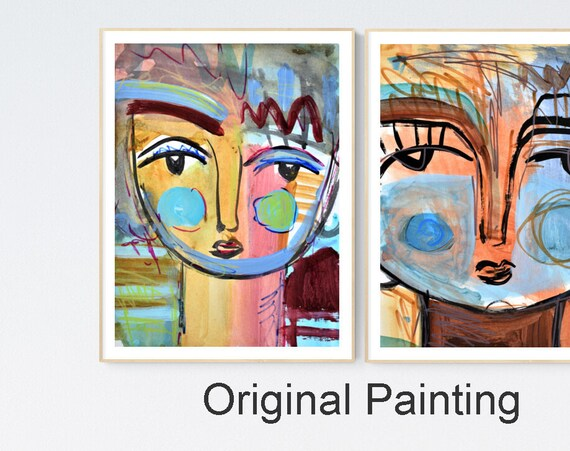 original works on paper two womens  abstract  painting by   from jolina anthony