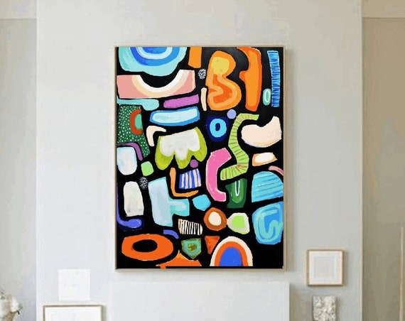 abstract painting the show  white original painting  by Jolina Anthony