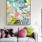 tropic green garden  abstract painting,, oil painting ,, large abstract painting,  Acrylic painting  ,original painting