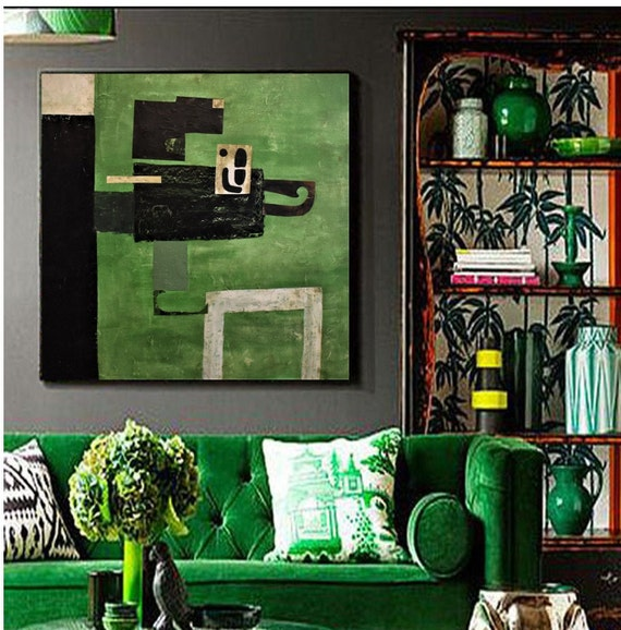 mixed  green   abstract painting, colorful  by Jolina Anthony