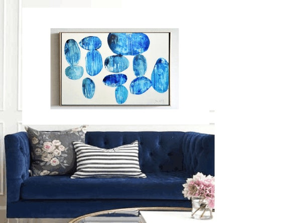 "blue abstract painting 40""   blue white  ,, Jolina Anthony"