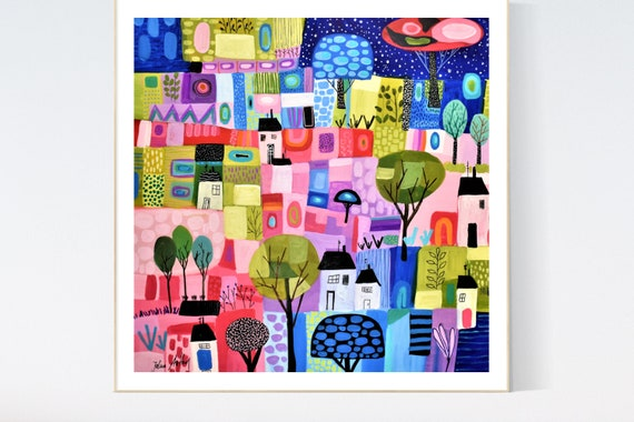 houses  abstract Art nice  abstract painting, Art Print  by Jolina Anthony