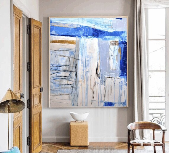 blue gold   abstract painting by Jolina Anthony