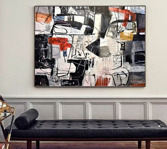 """60""""x42""""black white  abstract painting ,big original painting  by Jolina Anthony"""