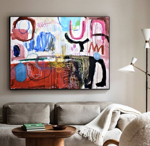 40x30  wall art colorful astract Painting nice large original painting , by Jolina Anthony