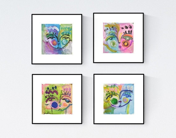 4 faces  abstract painting set of   wall art  jolina anthony