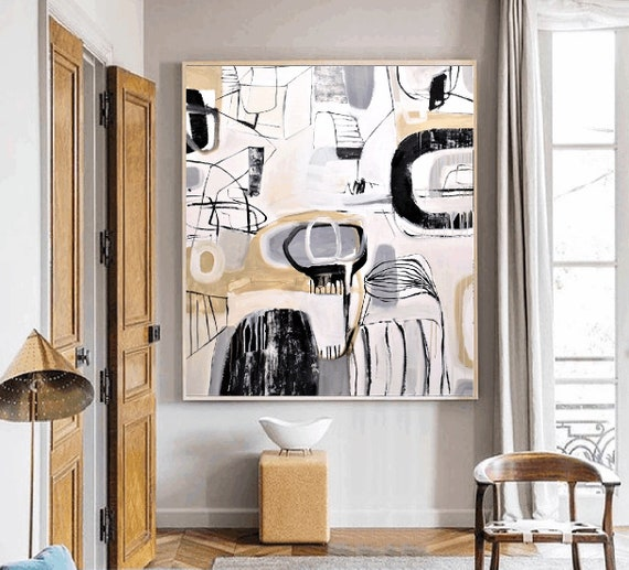 black white    abstract painting by Jolina Anthony