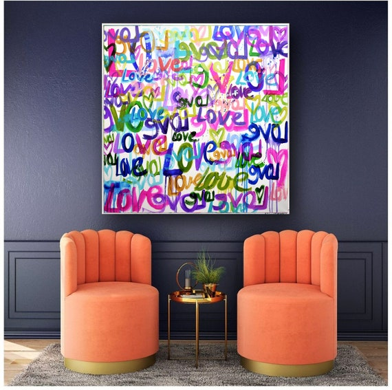 Love love   wall decor love     abstract painting wunderful  Acrylic painting by jolina anthony