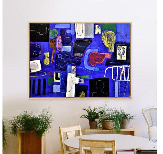 abstract painting blue mixed media original painting  by Jolina Anthony