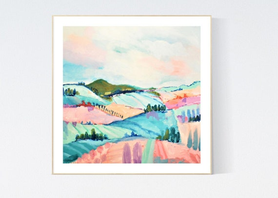 Landscape  abstract painting, Art Print  by Jolina Anthony