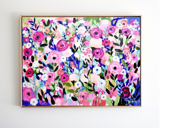 """40"""" flower Abstract Art, colorful  abstract painting nice canvas art  by Jolina Anthony"""