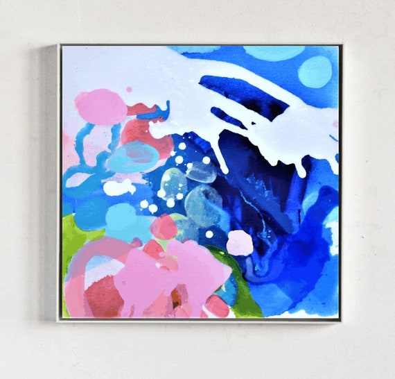 abstract painting,blue abstract Art nice Oil Painting by Jolina Anthony