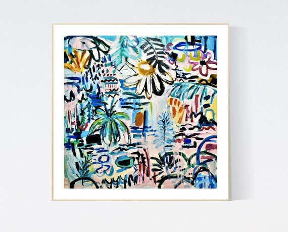 tropic land  abstract painting, Art Print  by Jolina Anthony