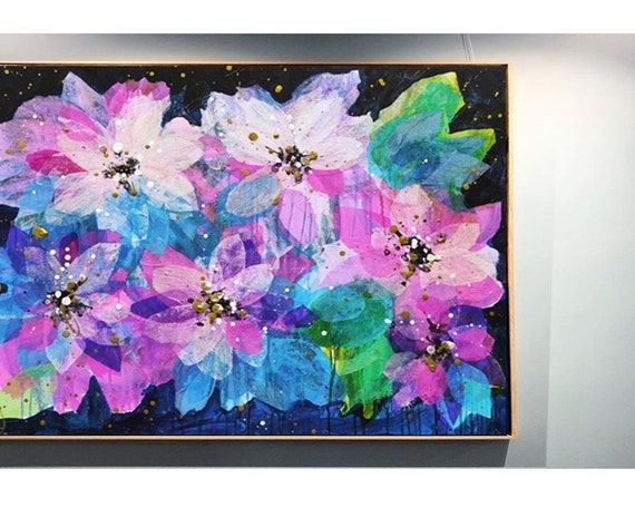silk florwers  abstract painting by    jolina anthony signet and datet