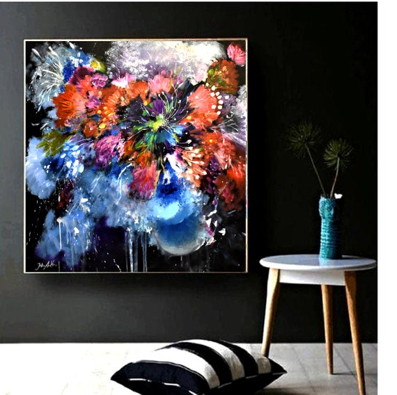 "colorful flower 36""x36"" abstract painting nice original painting by Jolina Anthony"