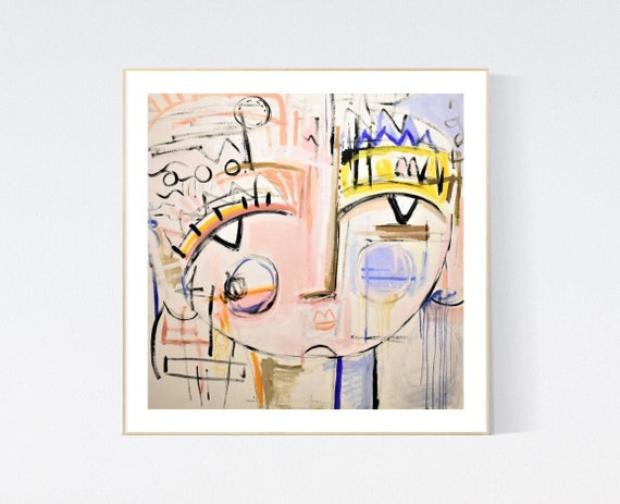 Face  abstract painting, Art Print  by Jolina Anthony