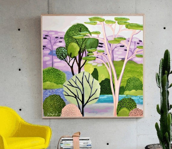 Dreamland   green violet wall decor by Jolina anthony