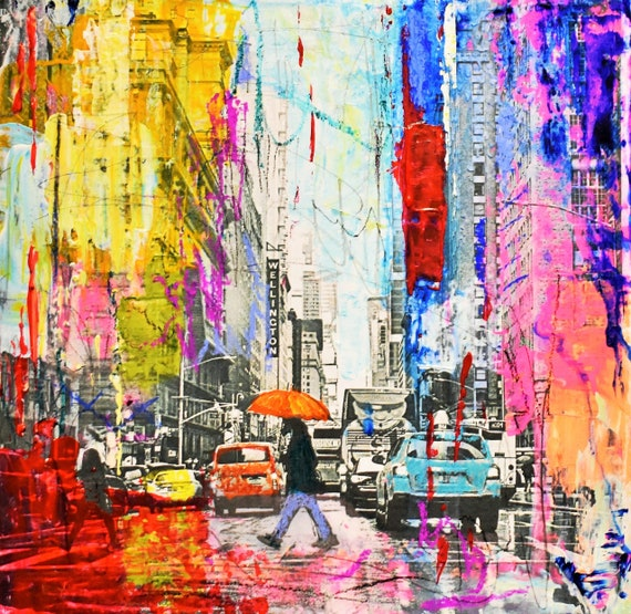colorful new york   abstract  painting, Acrylic painting, large abstract painting
