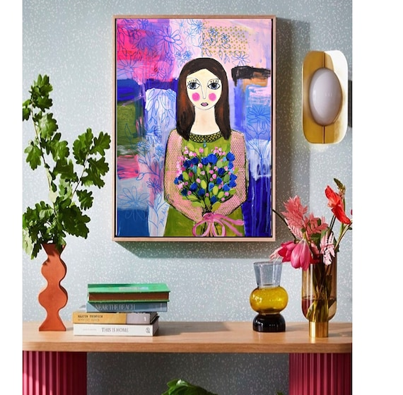 Girl With Flowers abstract painting colorful  original painting nice oil painting   by Jolina Anthony