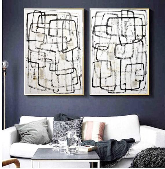 "60""mixed media set of two abstract painting  nice wall decor  jolina Anthony"
