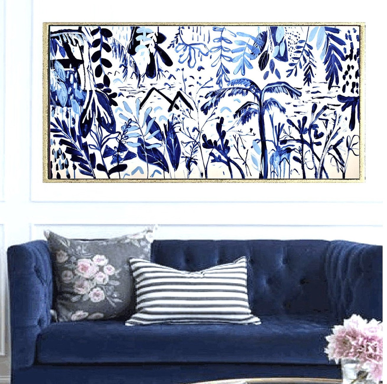 Blue Tropic Garden Abstract Painting By Jolina Anthony