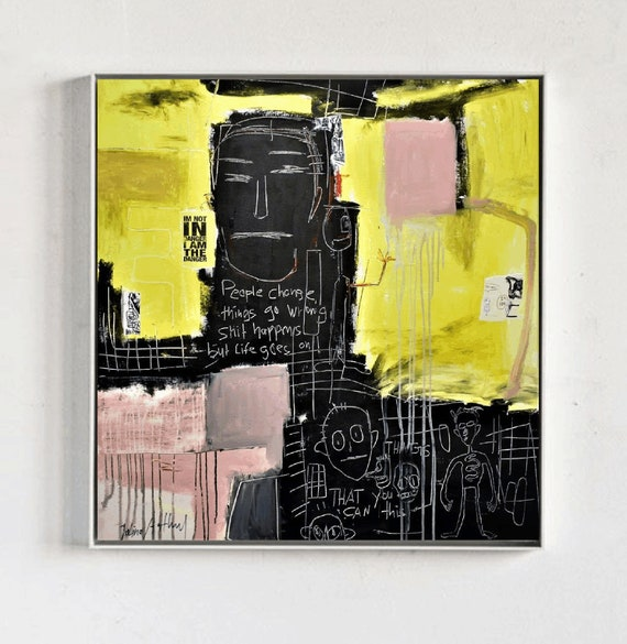 abstract art yellow  abstract painting nice  original painting by Jolina Anthony,