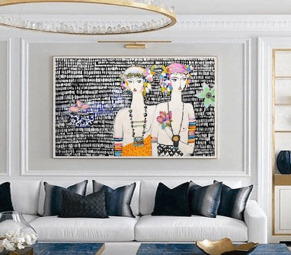 two womens with flowers abstract painting   modern ready to hang original painting,by   Jolina Anthony