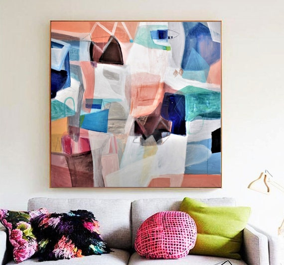 "blue rosa white 40"" livingroom   abstract painting,  by Jolina Anthony"