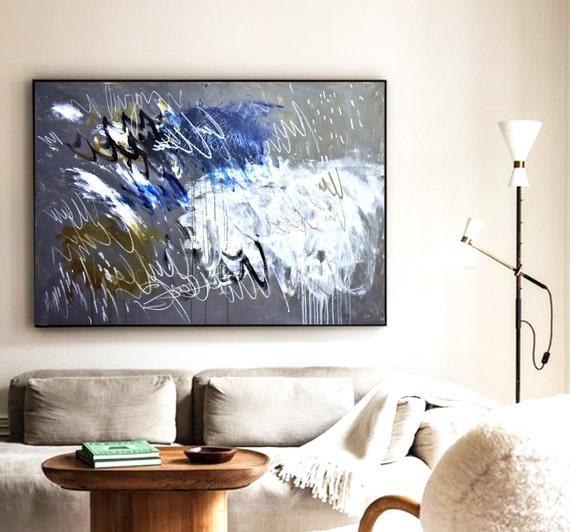 """30""""x40""""  grey blue  abstract painting by Jolina Anthony"""