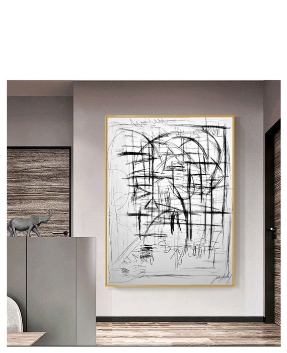 "coal drawing 52""x40""black and white abstract painting 52"" Gallery artwork by   jolina anthony"