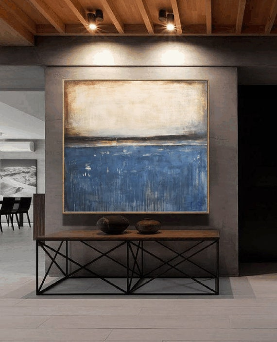 blue beige   abstract painting by Jolina Anthony