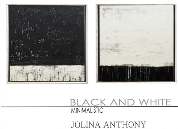 "black and white  abstract painting 72""  original painting by Jolina Anthony"