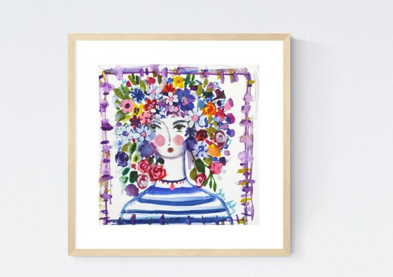 Flower Girl watercolor abstract Painting nice  original painting   jolina anthony