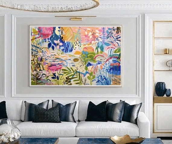 a tropic island large Abstract painting wunderful  original painting by  Jolina Anthony a beautifull