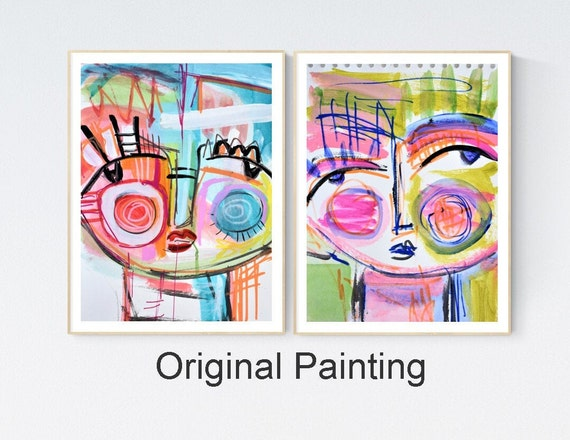 two original works on paper  colorful  Abstract Painting by   Joilina Anthony
