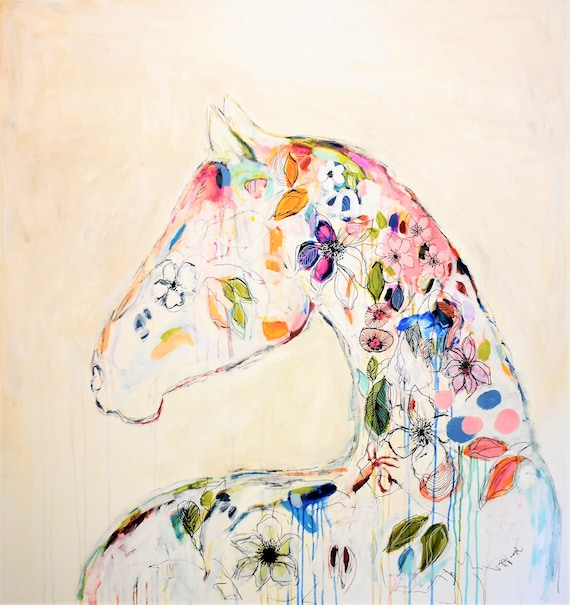 Colorful Horse  abstract painting by jolina anthony