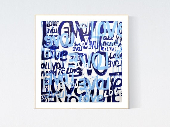 Love Love  abstract painting, Art Print  by Jolina Anthony
