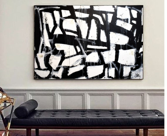 mixed media abstract painting  black  original art, nice abstract art by Jolina Anthony