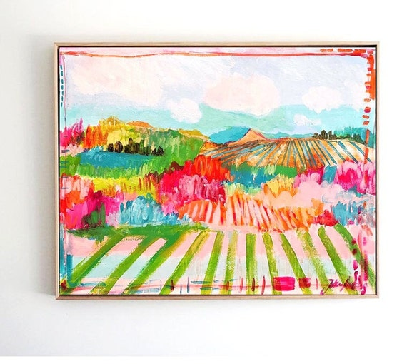 Landscape abstract painting  colorful original painting,by   Jolina Anthony