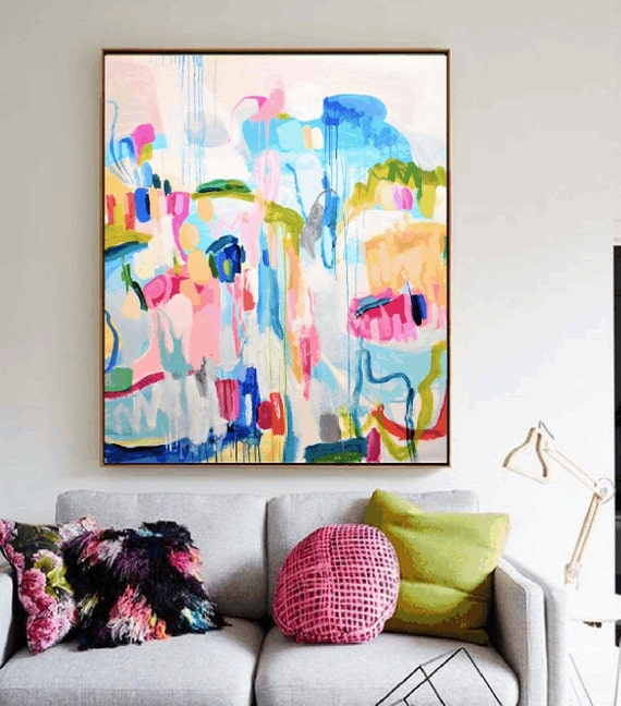 pastel colors    abstract Painting,  expressionismn  Original painting, Large Painting on Canvas, nice  Modern Art,