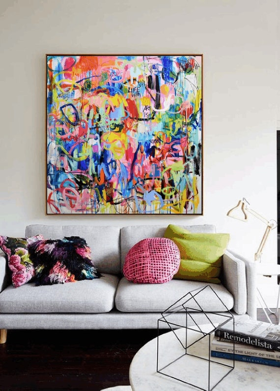 life with art is good for you abstract painting  original painting  by Jolina Anthony