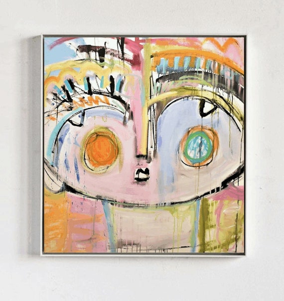 abstract art Face  abstract painting nice  original painting by Jolina Anthony,