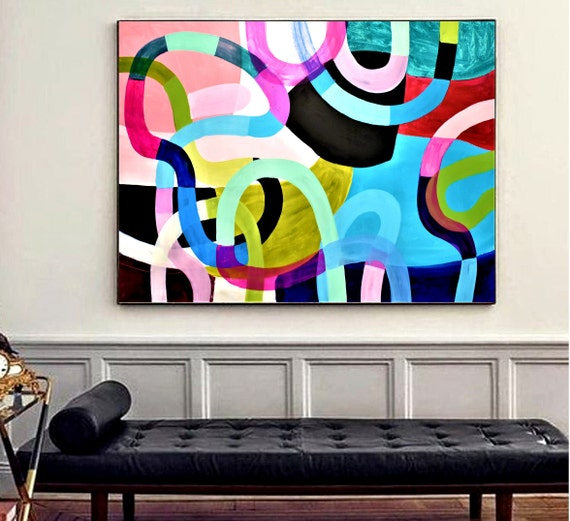 "colorful  abstract painting nice abstract art 48"" original wall art nice large painting   by Jolina Anthony"