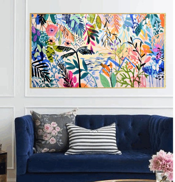 tropic garden  abstract painting   textured  original painting,by   Jolina Anthony